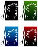 Insieme di logo dei parrucchieri illustrazione vettoriale