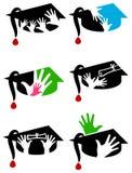 Insieme di logo del cappuccio di graduazione Fotografia Stock Libera da Diritti