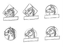 Insieme di logo del drago Immagini Stock