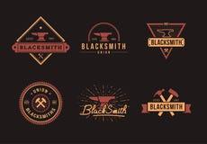 Insieme di logo del fabbro Fotografia Stock Libera da Diritti