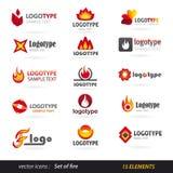 Insieme di logo del fuoco Fotografia Stock Libera da Diritti