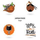 Insieme di logo dell'alimento del Giappone Tagliatelle e sushi Illustrazione per il vostro affare di pasto rapido Fotografia Stock Libera da Diritti
