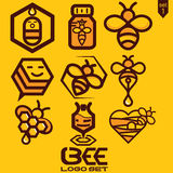 Insieme di logo dell'ape Immagine Stock