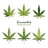 Insieme di logo della cannabis Fotografia Stock Libera da Diritti
