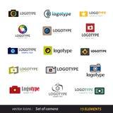 Insieme di logo della macchina fotografica Immagine Stock Libera da Diritti