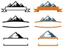 Insieme di logo della montagna Fotografia Stock