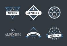 Insieme di logo di alpinismo Fotografia Stock