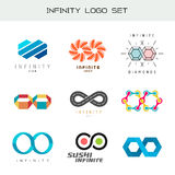 Insieme di logo di infinito Simboli di colore di infinito Fotografie Stock