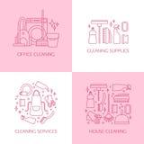 Insieme di logo di pulizia Fotografie Stock