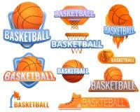 Insieme di logo di sport di pallacanestro, stile del fumetto illustrazione di stock