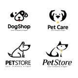 Insieme di logo di vettore Progettazione di logo per il deposito dell'animale domestico illustrazione di stock