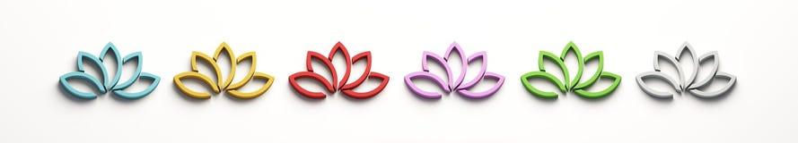 Insieme di Lotus Flower a colori 3d rendono l'illustrazione illustrazione di stock
