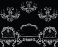 Insieme di lusso barrocco della mobilia di stile Immagini Stock Libere da Diritti