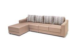 Insieme di lusso comodo del sofà fatto di Lenin e di cuoio più di alta qualità nel colore beige Fotografia Stock