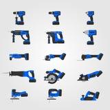 Insieme di macchine utensili senza cordone moderno blu Fotografie Stock