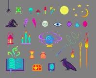 Insieme di magia di arte del pixel illustrazione di stock