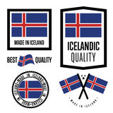 Insieme di marchio di qualità dell'Islanda per le merci Fotografia Stock