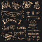 Insieme di Mardi Gras Vintage Fotografia Stock