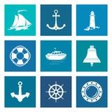 Insieme di Marine Icons blu Immagine Stock