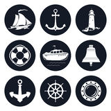 Insieme di Marine Icons rotonda Fotografie Stock