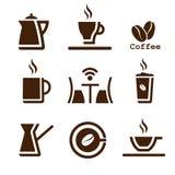 Insieme di marrone del caffè Fotografie Stock Libere da Diritti