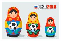 Insieme di Matrioshka del Russo Simbolo della Russia con pallone da calcio e testo Russia 2018 Bambole russe tradizionali di inca Illustrazione Vettoriale