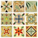 Insieme di mattonelle di ceramica della flora antica nove Fotografie Stock Libere da Diritti