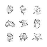 Insieme di medici otorinolaringoiatria delle icone Immagini Stock Libere da Diritti