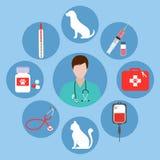 Insieme di medicina veterinaria su fondo bianco Immagine Stock Libera da Diritti