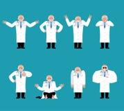 Insieme di medico Medico triste e yoga sconcertante ed arrabbiato felice illustrazione vettoriale