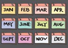 insieme di 12 mesi dell'icona di vettore del fumetto del calendario Fotografie Stock