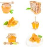 Insieme di miele isolato su un ritaglio bianco del fondo Fotografie Stock Libere da Diritti