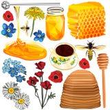 Insieme di miele nei poli e stili disegnati a mano bassi Immagini Stock Libere da Diritti