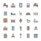 Insieme di Mini Icon - icona di colore pieno della mobilia illustrazione di stock