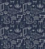 Insieme di mobilia classica - blu scuro Immagine Stock