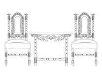 Insieme di mobilia classica con gli ornamenti ricchi Fotografia Stock
