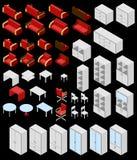 Insieme di mobilia isometrica Fotografie Stock Libere da Diritti