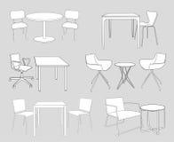 Insieme di mobilia. tavole e sedie. vettore di schizzo Fotografie Stock Libere da Diritti
