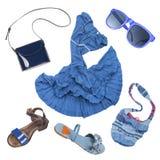 Insieme di modo di signora di colore del blu dell'attrezzatura di estate Immagine Stock