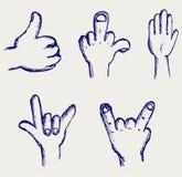 Insieme di molte mani differenti Immagine Stock