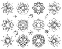 Insieme di mono linea icone del fiore Linea sottile raccolta degli elementi di progettazione di miscela Piccoli fiori svegli Insi Fotografia Stock