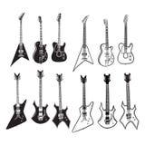 Insieme di musica della chitarra Fotografia Stock