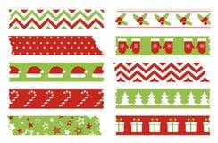 Insieme di nastri di washi di Natale Modello di vettore dei nastri adesivi luminosi fotografia stock