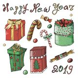 Insieme di Natale e del nuovo anno con i regali ed i dolci su un fondo bianco illustrazione vettoriale