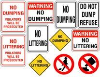 Insieme di nessun segni di dumping o di figliata Fotografia Stock Libera da Diritti