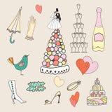 Insieme di nozze delle icone disegnate a mano sveglie Immagini Stock