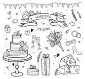Insieme di nozze, scarabocchio Stile disegnato a mano Cuori, fiori, nastri, uccelli, parole, dolce, regali, anelli, invito Fotografia Stock