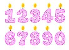 Insieme di numero della candela, illustrazione delle candele di compleanno Fotografie Stock Libere da Diritti