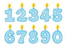 Insieme di numero della candela, illustrazione delle candele di compleanno su un fondo bianco, Immagini Stock