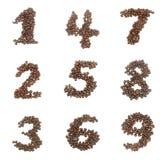 Insieme di numero fatto dei chicchi di caffè Immagine Stock